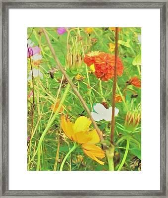 Mr. Van Gogh Style Portrait Of Flowers Framed Print by Debra Lynch