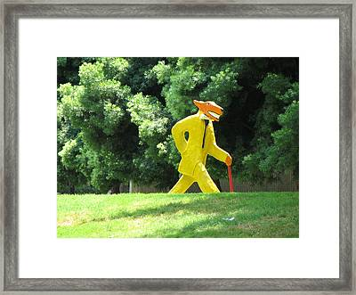 Mr. Wolf Goes For A Walk In His Spiffy New Suit Framed Print