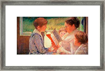 Mrs Cassatt Reading To Her Grandchildren Framed Print by Mary Stevenson Cassatt