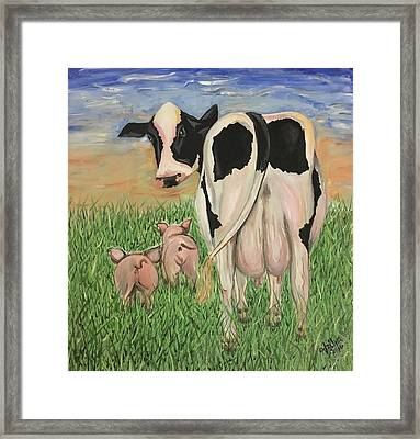 Mrs. Cow Got Milk? Framed Print by Valeria Silva