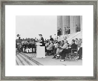 Mrs. Eleanor Roosevelt Addressing Framed Print by Everett
