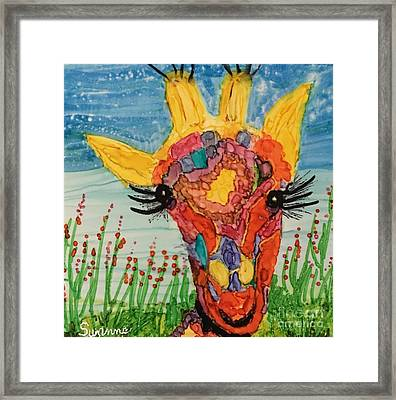 Mrs Giraffe Framed Print by Suzanne Canner