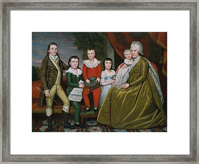 Mrs. Noah Smith And Her Children Framed Print by Ralph Earl