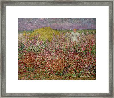 Mrs Russell Amongst The Flowers At Belle Isle Framed Print by John Peter Russell