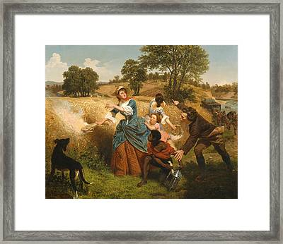 Mrs Schuyler Burning Her Wheat Fields On The Approach Of The British Framed Print by Emanuel Leutze