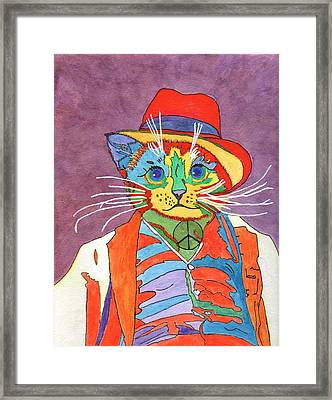 Framed Print featuring the painting Mr.wisker For Peace by Connie Valasco