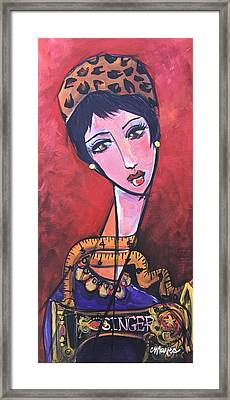 Framed Print featuring the painting Ms. Bimba Fashionable Seamstress by Laurie Maves ART