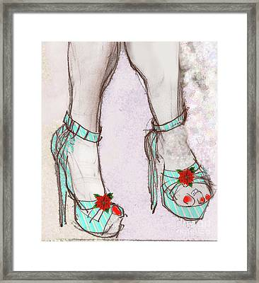 Ms Cindy's Shoes With Poinsettas Framed Print