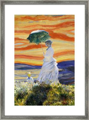 Ms Monet And Red Skies Framed Print by Gravityx9  Designs