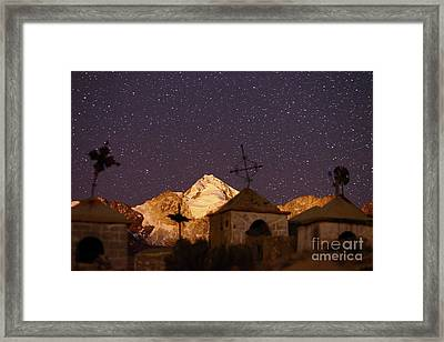 Mt Huayna Potosi And Milluni Cemetery At Night Framed Print