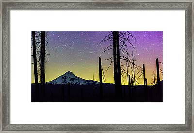 Framed Print featuring the photograph Mt. Jefferson Bathed In Auroral Light by Cat Connor