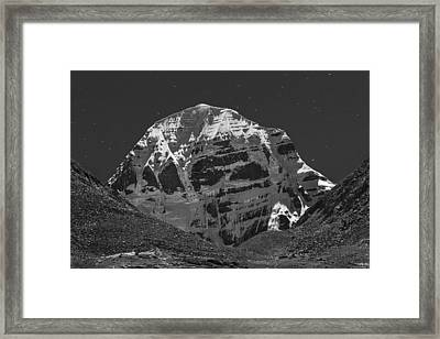 Mt. Kailash In Moonlight Framed Print by Hitendra SINKAR