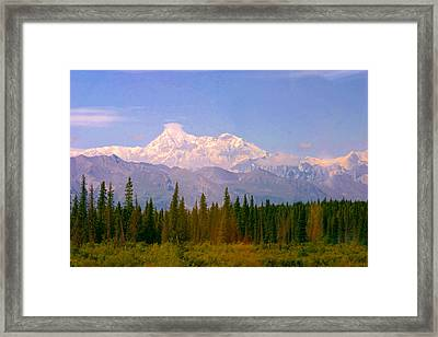 Framed Print featuring the photograph Mt Mckinley 125 Miles Away by Jack G  Brauer