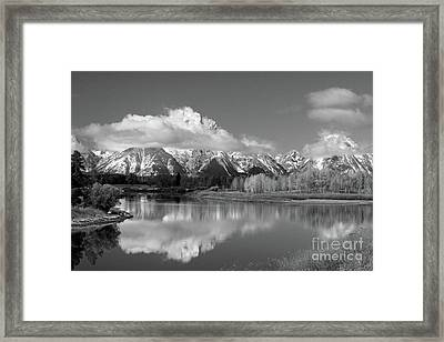 Mt. Moran  In Black And White Framed Print by Edward R Wisell