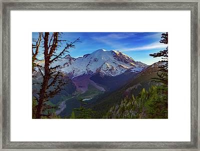 Mt Rainier At Emmons Glacier Framed Print by Ken Stanback