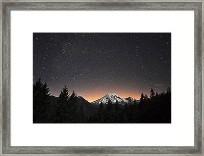 Mt Rainier At Night Framed Print by David Hogan