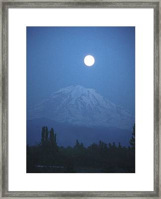 Mt Rainier Full Moon Framed Print