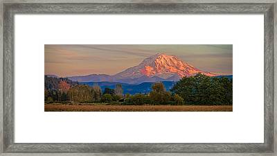 Mt Rainier In The Fall Framed Print