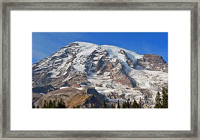 Framed Print featuring the photograph Mt. Rainier In The Fall by Larry Keahey