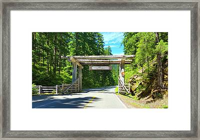 Mt. Rainier National Park Entrance Sign Framed Print