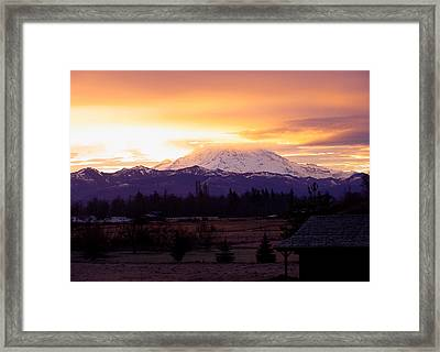 Mt. Rainier On Fire Framed Print