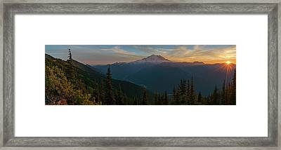 Mt Rainier Sunset Glow Framed Print