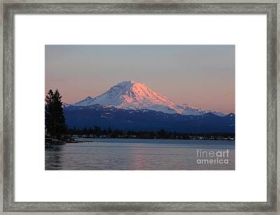 Framed Print featuring the photograph Mt Rainier Sunset by Peter Simmons