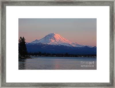 Mt Rainier Sunset Framed Print