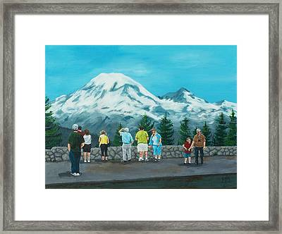Mt. Rainier Tourists Framed Print by Gene Ritchhart