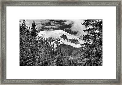 Framed Print featuring the photograph Mt Rainier View - Bw by Stephen Stookey