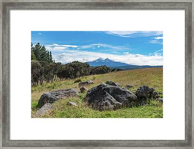 Framed Print featuring the photograph Mt Ruapehu View by Gary Eason