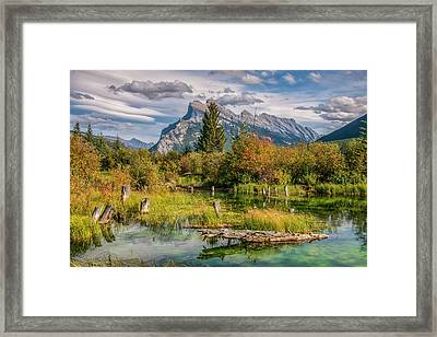 Framed Print featuring the photograph Mt. Rundle 2009 03 by Jim Dollar
