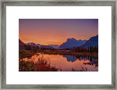 Framed Print featuring the photograph Mt. Rundle 2009 11 by Jim Dollar