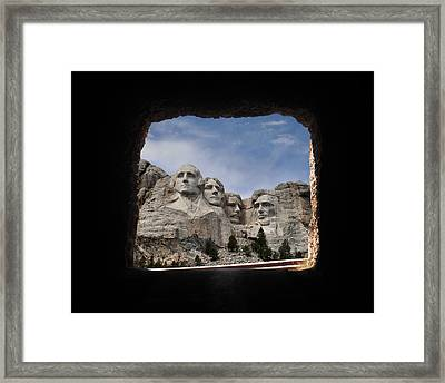 Framed Print featuring the photograph Mt Rushmore Tunnel by David Lawson