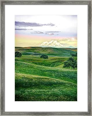 Mt Shasta With Glenn-tehama Foothills Framed Print