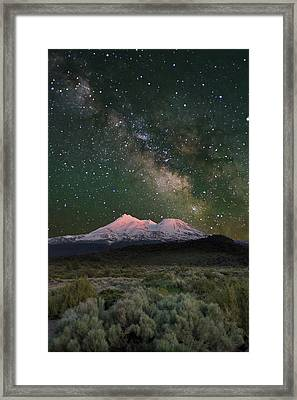 Mt Shasta With Milky Way#2 Framed Print by Keith Marsh