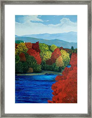 Mt Washington From The Saco River Framed Print by Paul Gaj