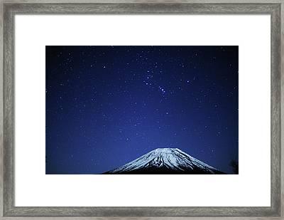 Mt.fuji And Winter Stars Framed Print by Takeshi.K