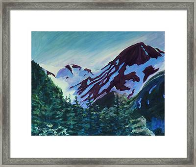 Framed Print featuring the painting Mt.roberts Juneau Alaska by Yulia Kazansky