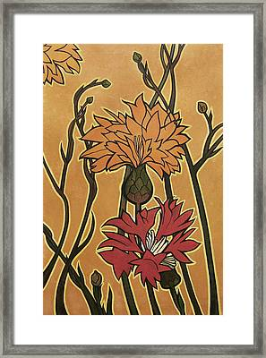 Mucha Ado About Flowers Framed Print by Carrie Jackson