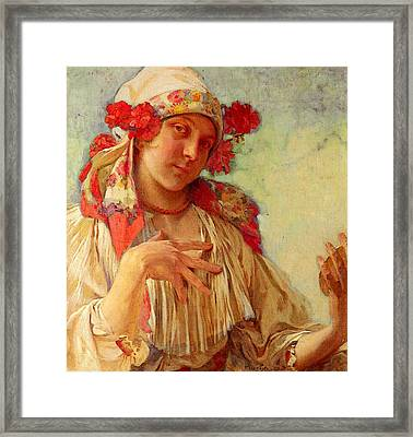 Mucha Alphonse Maria Young Girl In A Moravian Costume Framed Print