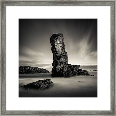 Muchalls Stack Framed Print by Dave Bowman
