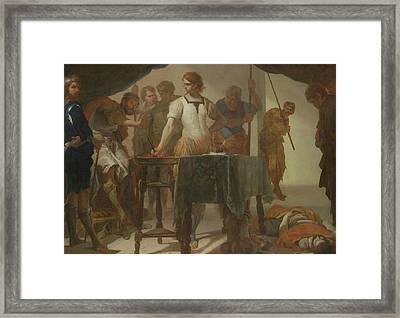 Mucius Scaevola Confronting King Porsenna Framed Print by Bernardo Cavallino