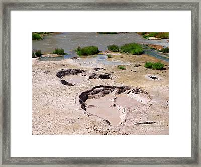 Mud Volcano Area In Yellowstone National Park Framed Print by Louise Heusinkveld