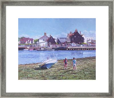 Framed Print featuring the painting Mudeford Quay Christchurch From Hengistbury Head by Martin Davey