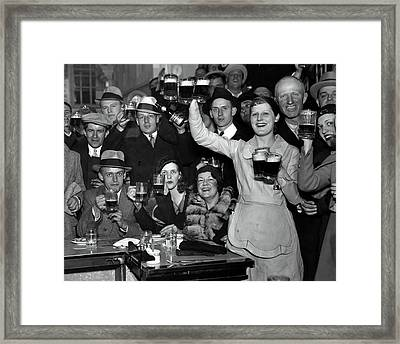 Mugs Raised As Prohibition Ends In Chicago  1933 Framed Print by Daniel Hagerman
