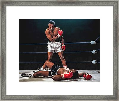 Muhammad Ali Boxer Knocks Out Sonny Liston Cassius Marcellus Clay Boxing Legend Framed Print by Rich image
