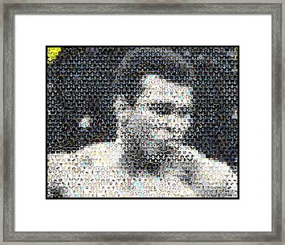 Muhammad Ali Butterfly Bee Mosaic Framed Print