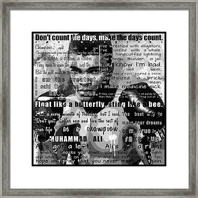 Muhammad Ali - Cassius Clay Motivational Inspirational Independent Quotes 1 Framed Print