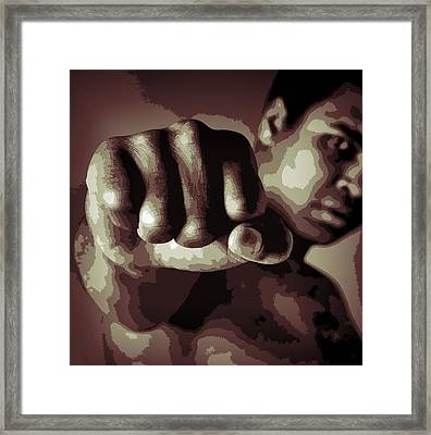 Muhammad Ali Fist Poster Framed Print by Dan Sproul